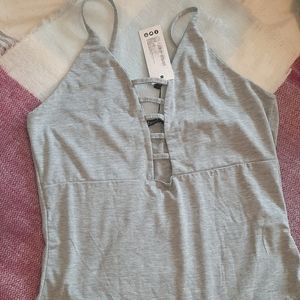BOOHOO gray soft Bodysuit